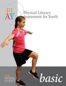 The image depicts the cover for the PLAYBasic resource page with a young girl balancing on one foot
